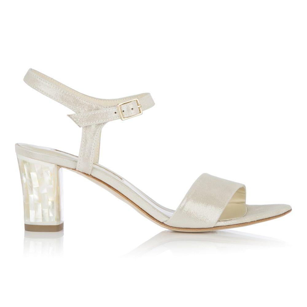 Freya Rose Martina Midi Champagne Suede Mother of Pearl Block Heel Sandals