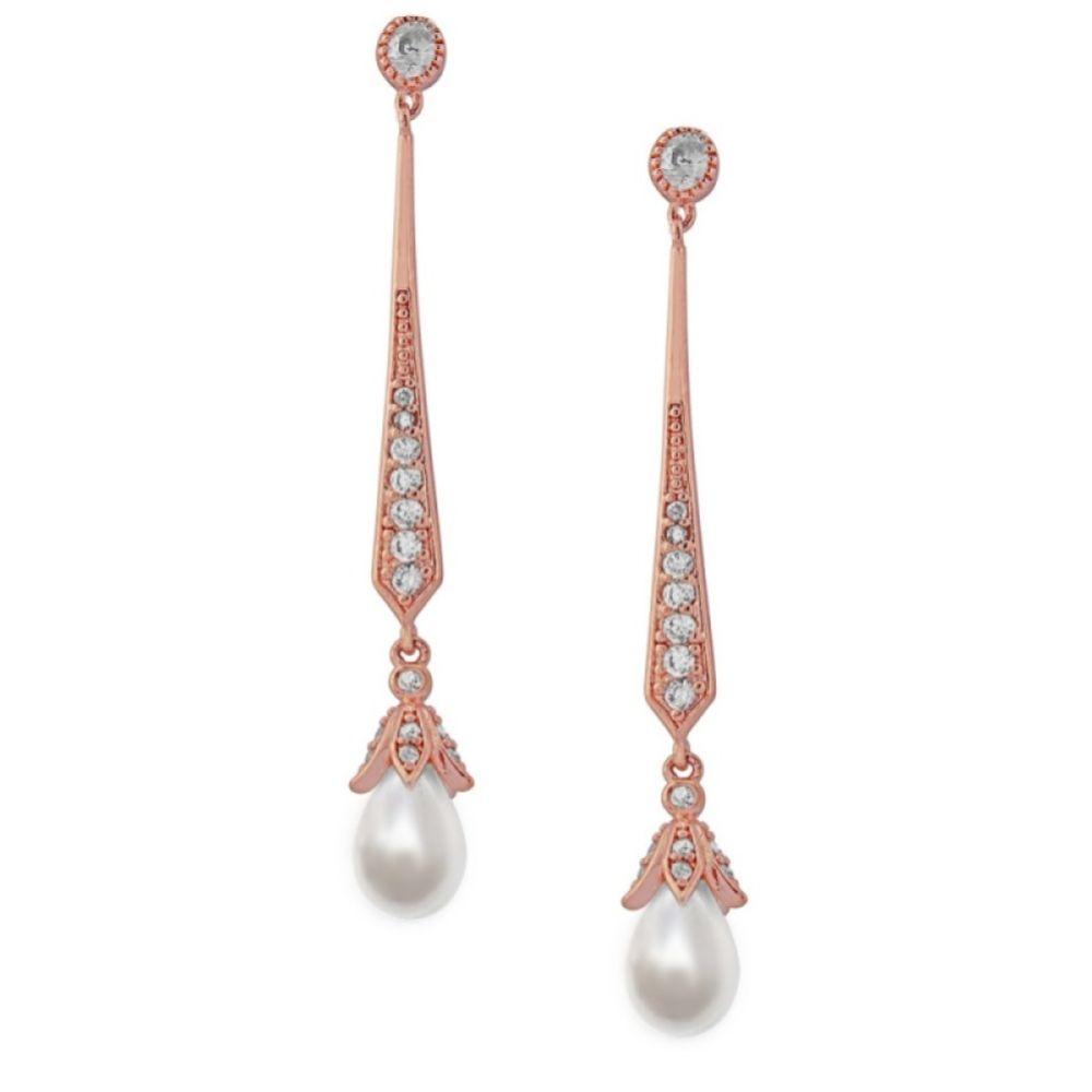 Geneva Long Pearl Drop Wedding Earrings (Rose Gold)