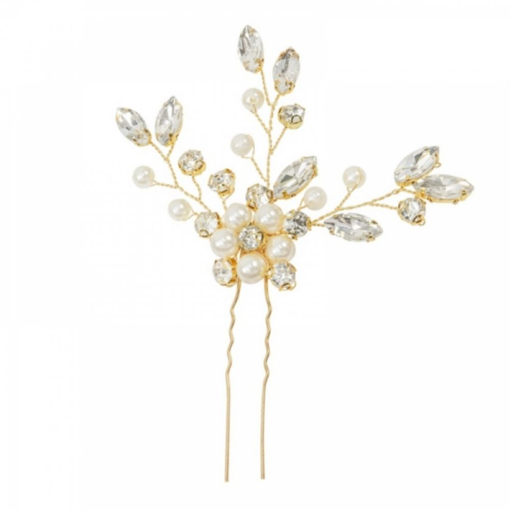 Grace Pearl and Crystal Floral Cluster Hair Pin (Gold)