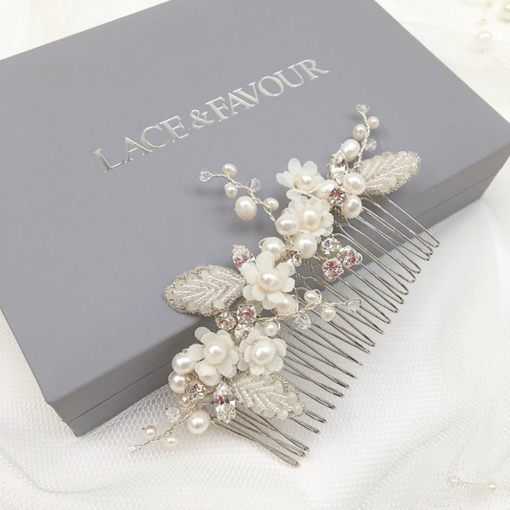 Gracie Freshwater Pearl Flowers and Beaded Leaves Hair Comb