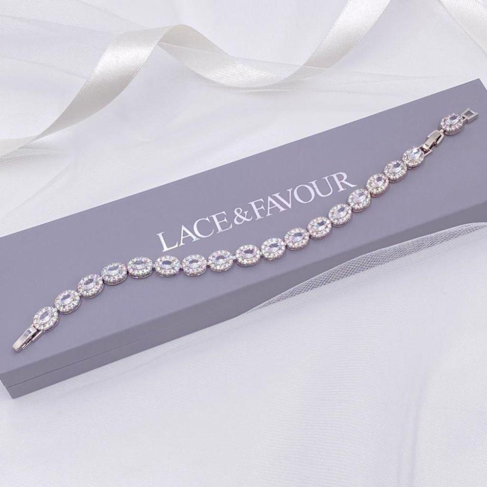 Grosvenor Oval Crystal Embellished Wedding Bracelet