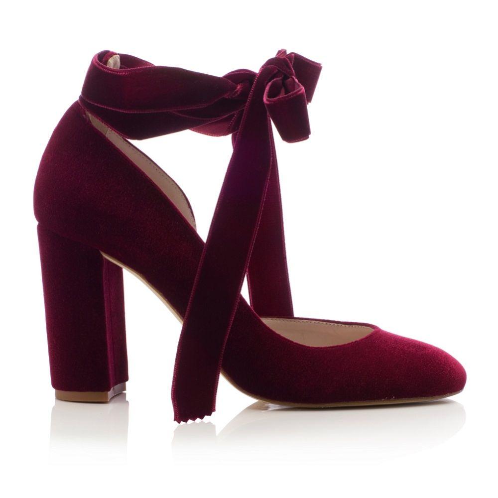 Harriet Wilde Hetty Bordo Velvet Tie Up Block Heel Court Shoes