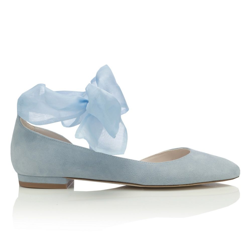 Harriet Wilde Hetty Flat Blue Suede Ballet Pumps with Organza Ankle Tie