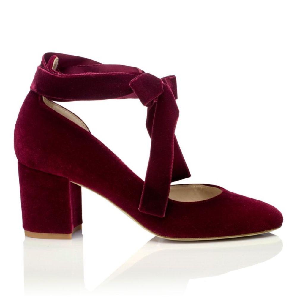 Harriet Wilde Hetty Mid Bordo Velvet Tie Up Block Heel Court Shoes
