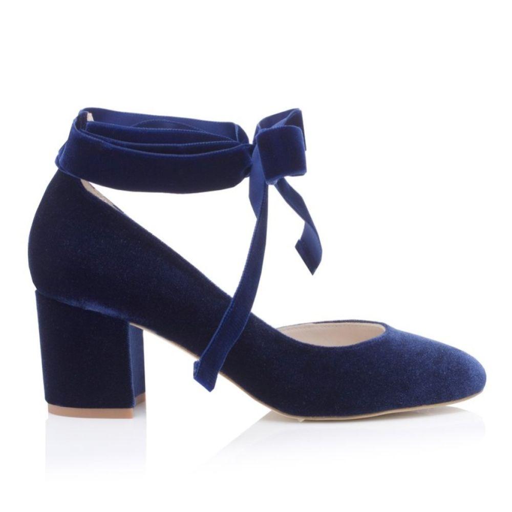 Harriet Wilde Hetty Mid Midnight Velvet Tie Up Block Heel Court Shoes