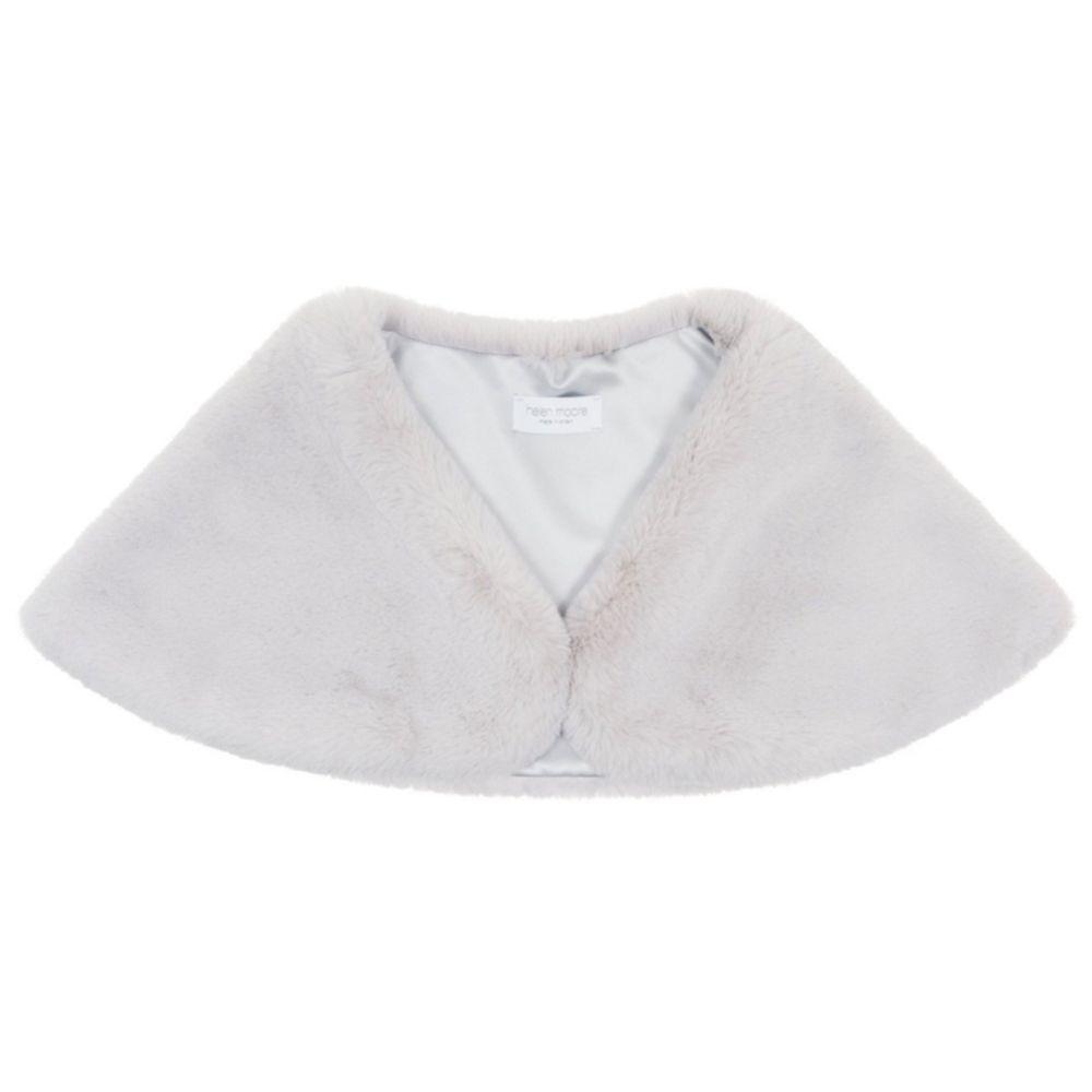 Helen Moore Mist Grey Faux Fur Wedding Wrap