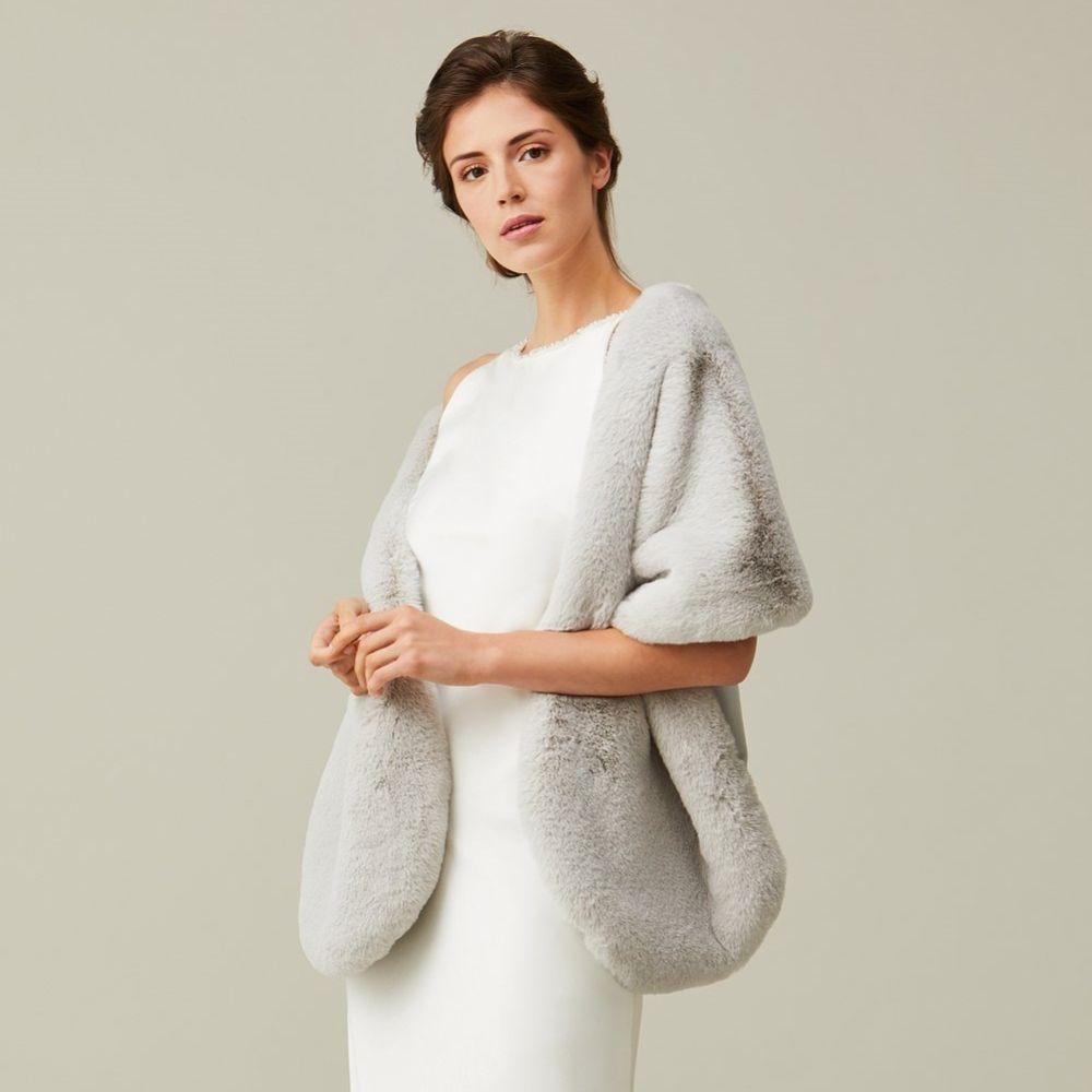 Helen Moore Mist Grey Long Faux Fur Stole