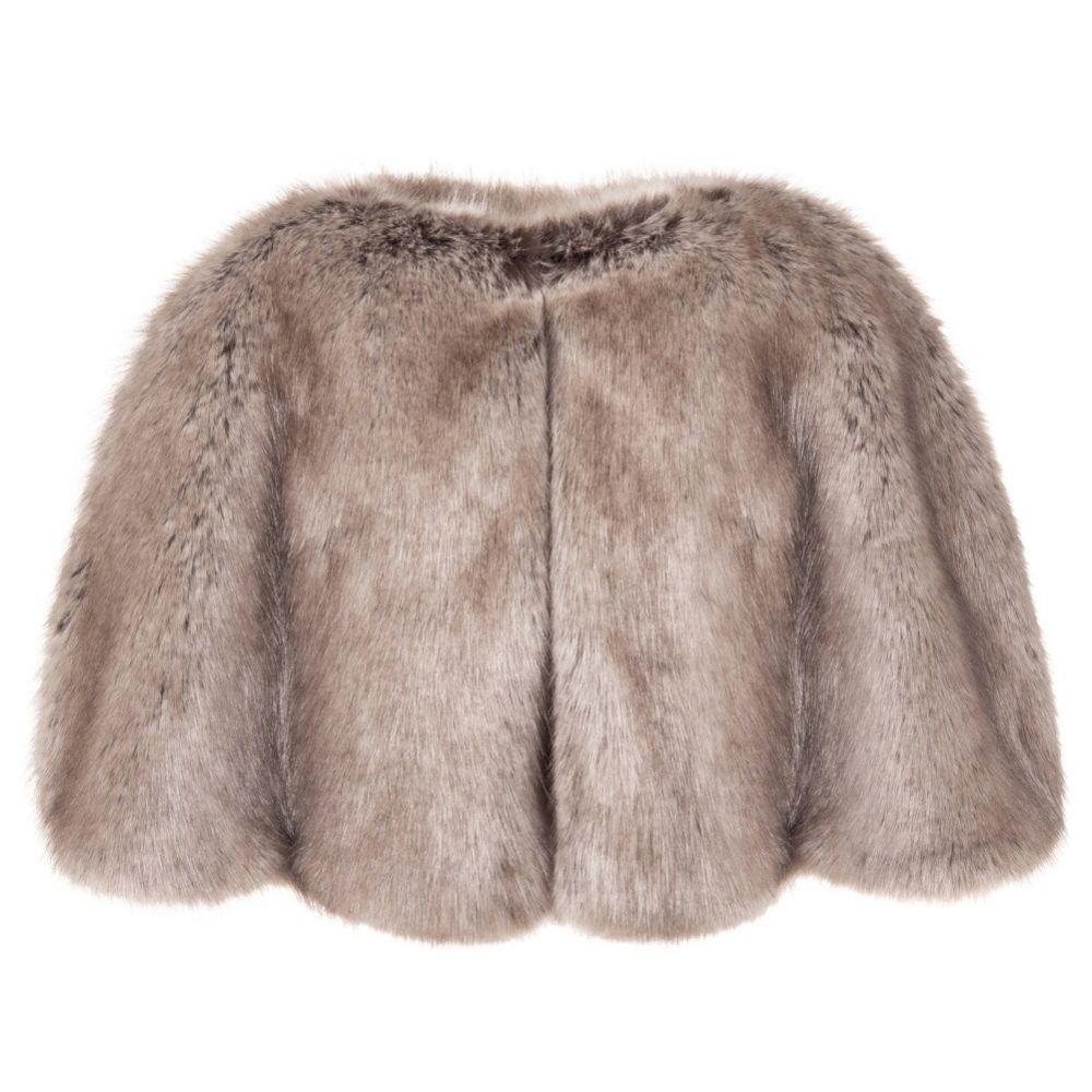 Helen Moore Truffle Faux Fur Short Bridal Cape