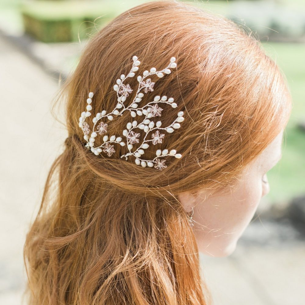 Hermione Harbutt Peony Freshwater Pearl and Crystal Bridal Hair Pins