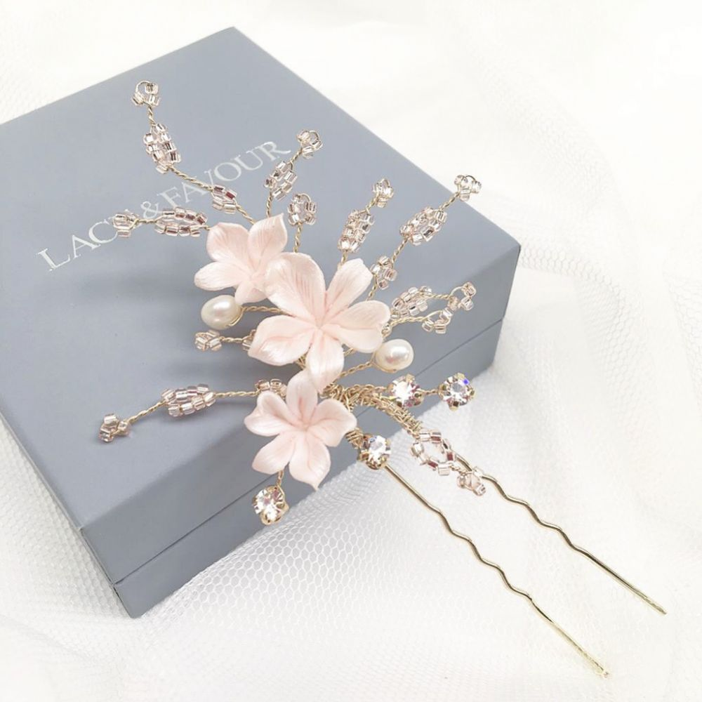 Hibiscus Pale Pink Porcelain Flowers Hair Pin