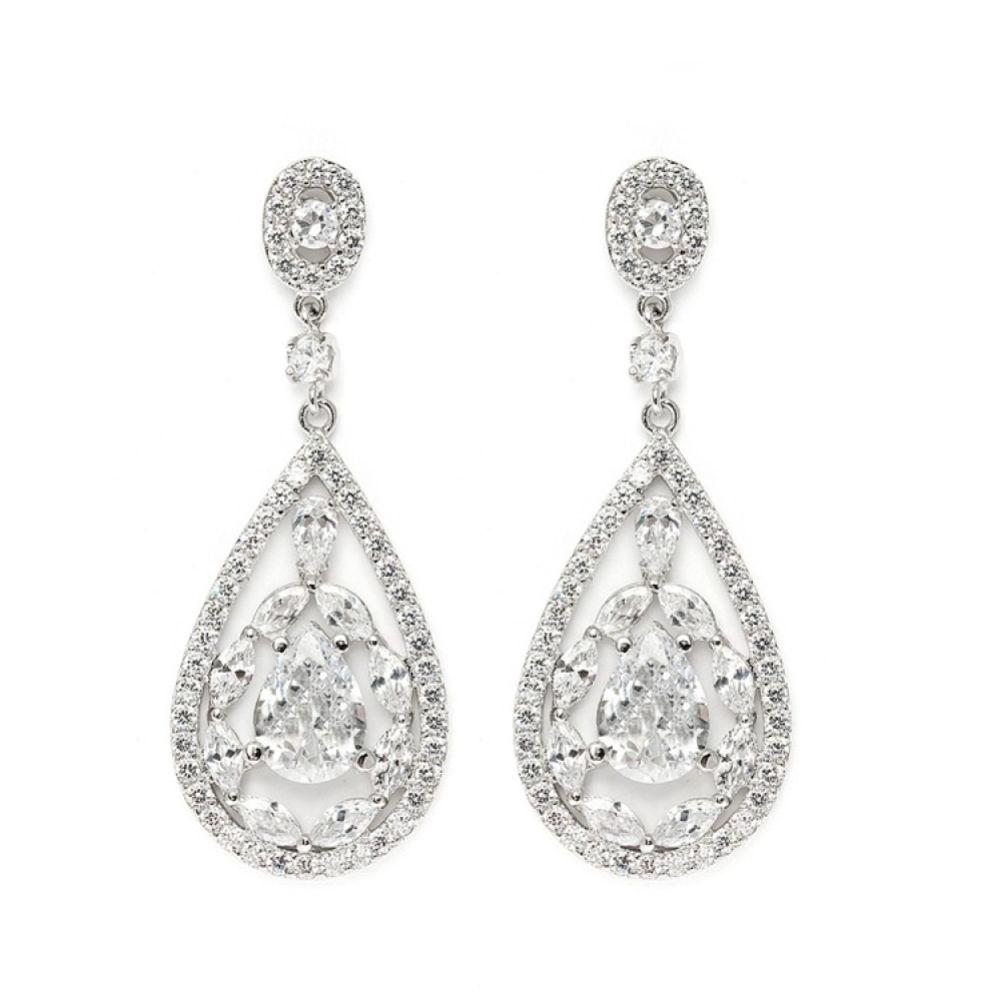 Hollywood Vintage Inspired Cubic Zirconia Drop Earrings (Silver)