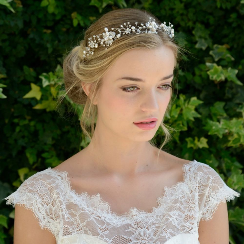 Ivory and Co Amy Floral Pearl Wedding Hair Vine