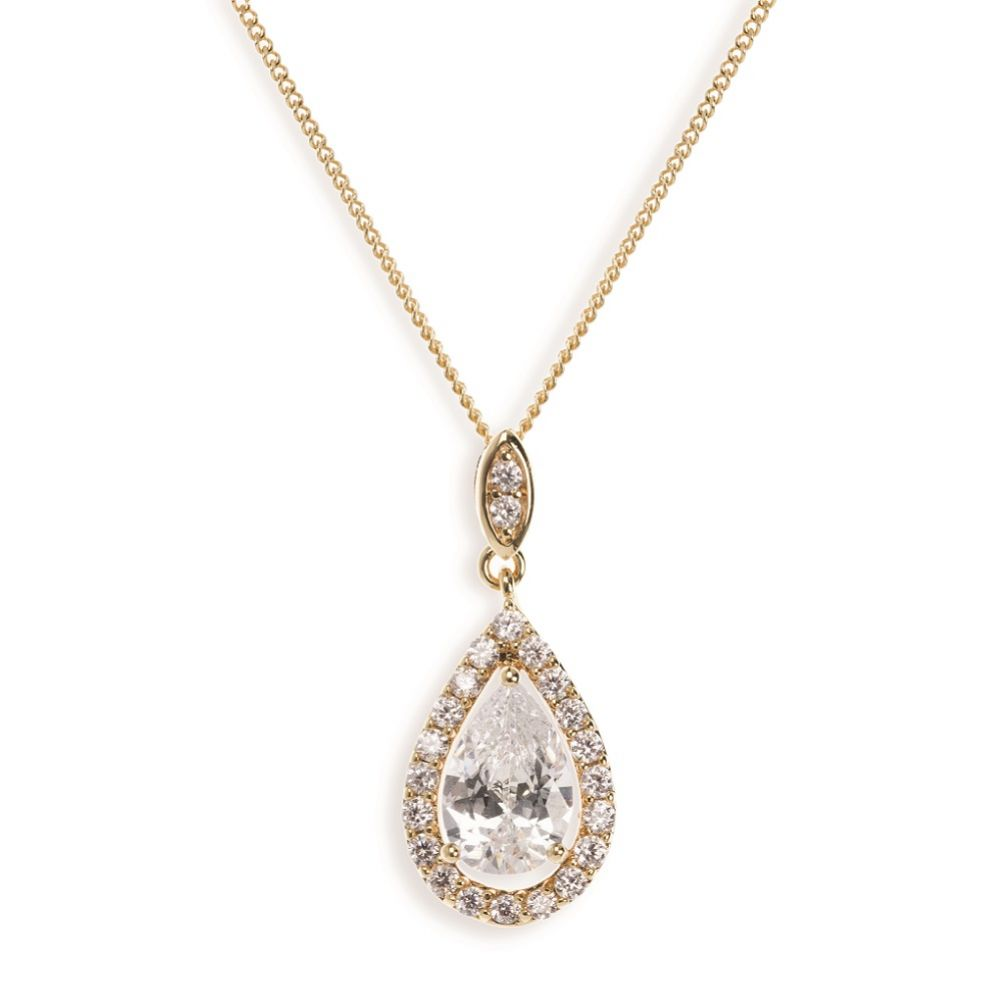 Ivory and Co Belmont Crystal Pendant Necklace (Gold)