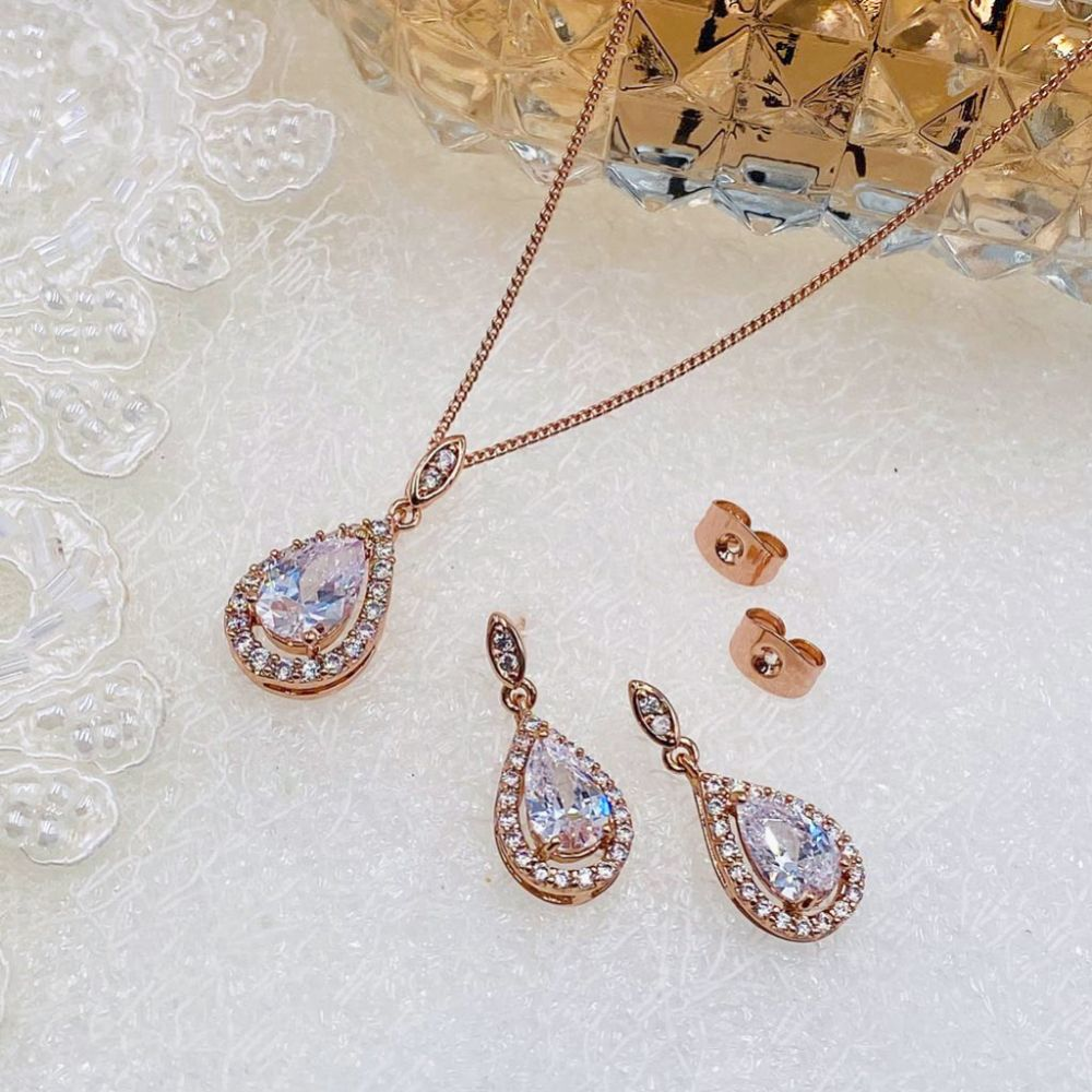 Ivory and Co Belmont Rose Gold Crystal Bridal Jewellery Set