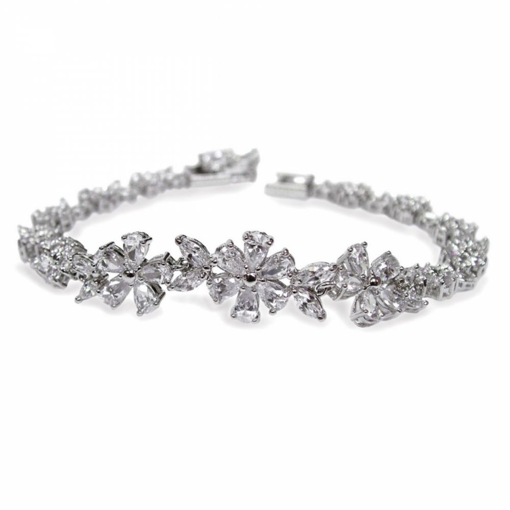 Ivory and Co Cherish Cubic Zirconia Flower Wedding Bracelet