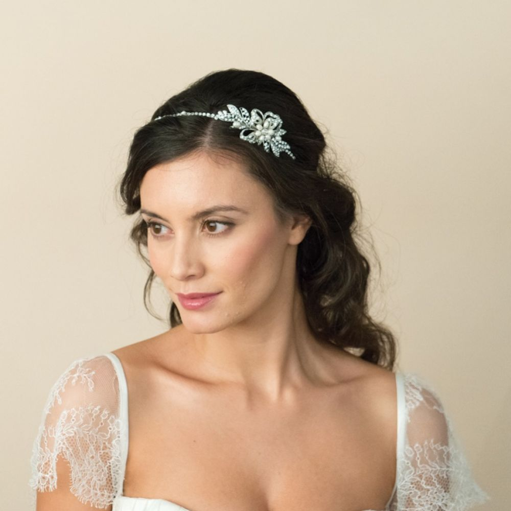 Ivory and Co Delphi Pearl and Crystal Floral Wedding Headband
