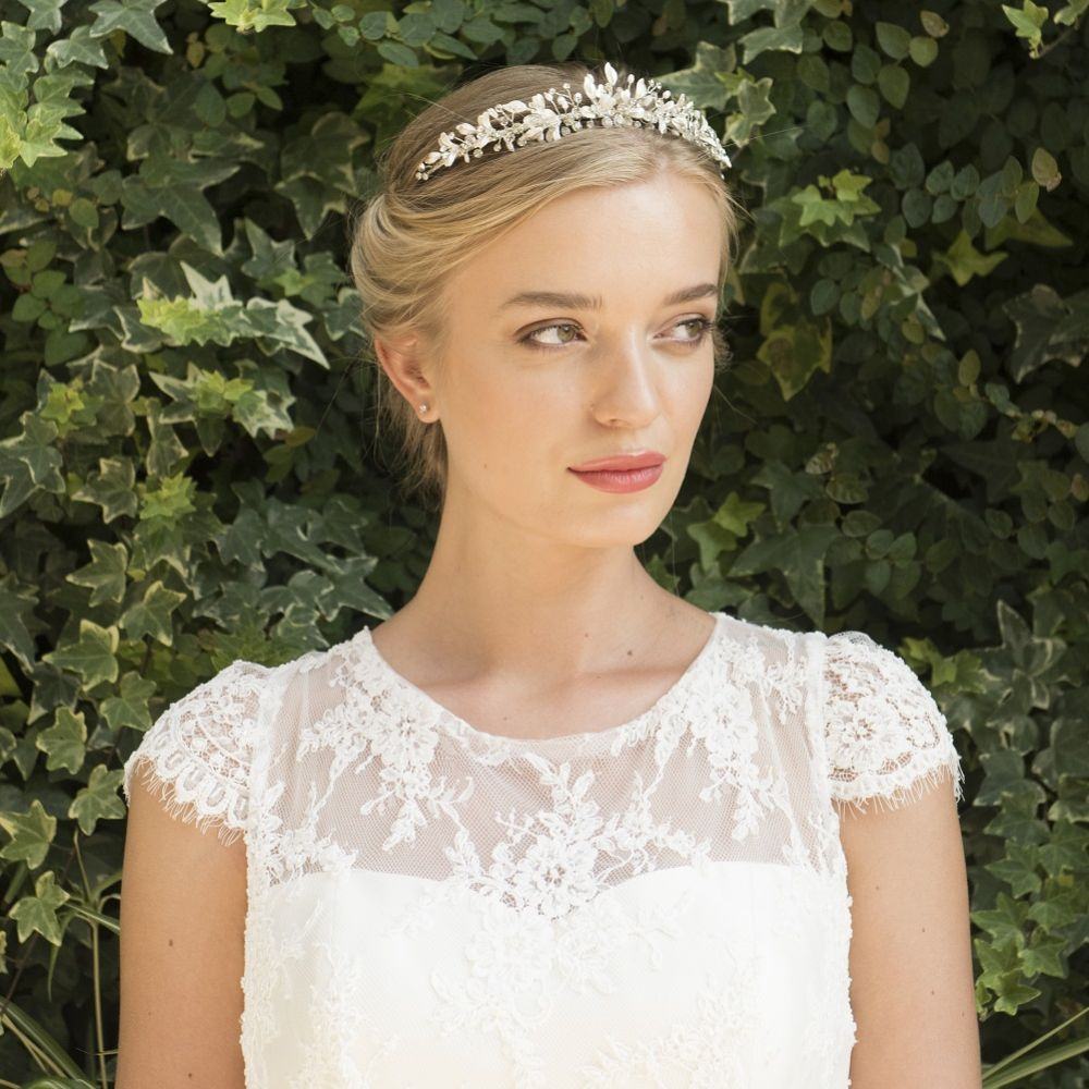 Ivory and Co Elva Silver Enamelled Leaves and Crystal Tiara