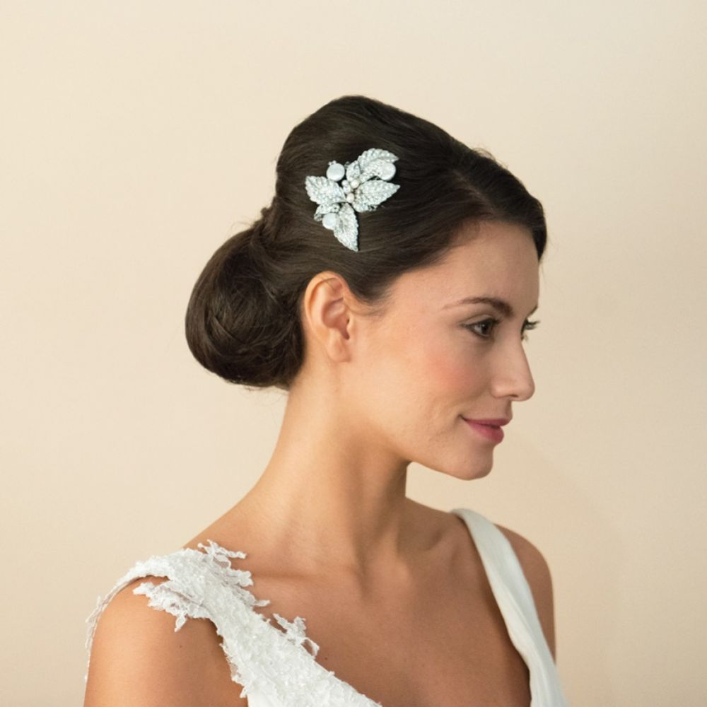Ivory and Co Esther Crystal Leaves and Pearl Wedding Hair Comb