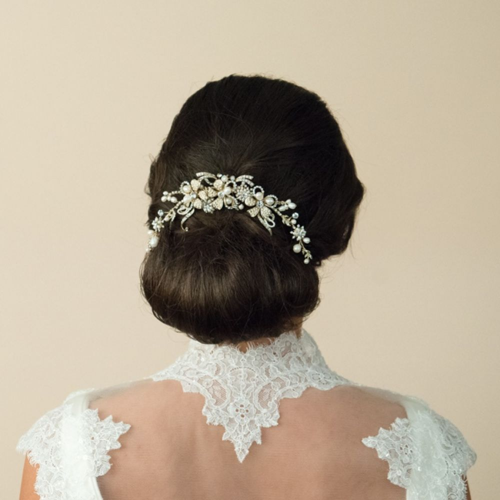 Ivory and Co Gold Pearl Crescent Bridal Hair Comb