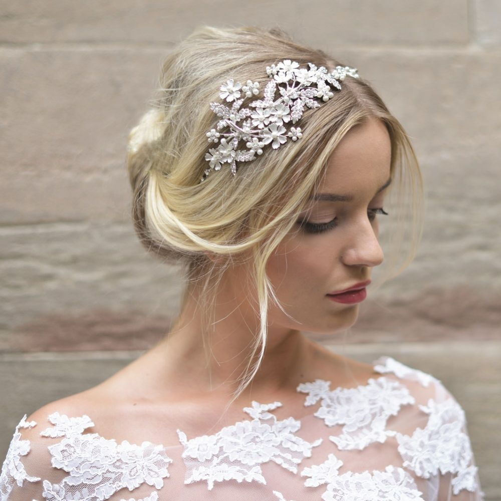 Ivory and Co Hermione Silver Enamelled Blossoms Wedding Headpiece