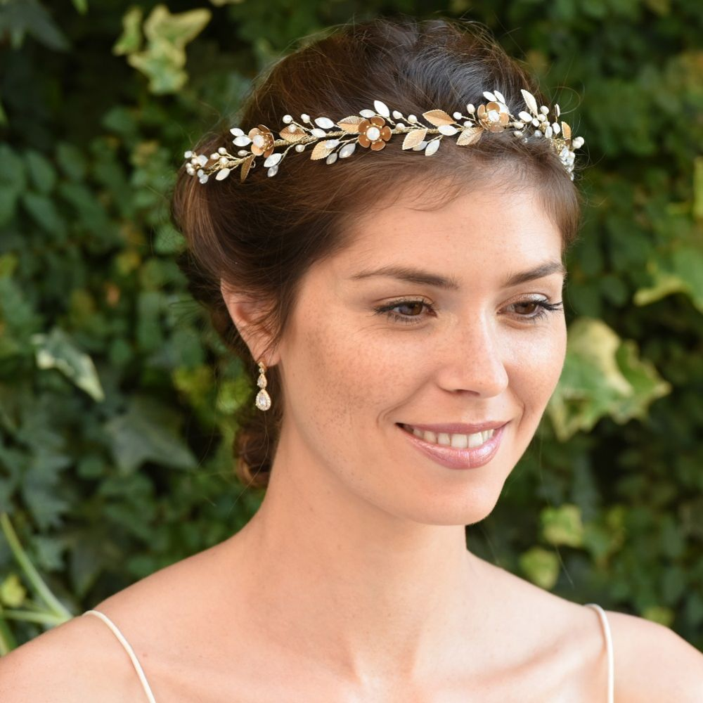 Ivory and Co Kallea Bronze Flowers and Opal Crystal Hair Vine
