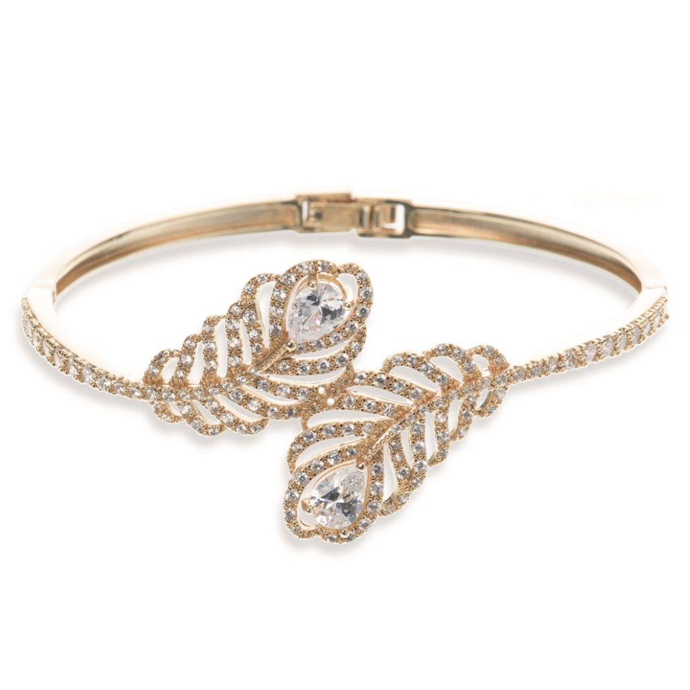 Ivory and Co Long Island Gold Crystal Embellished Feather Bracelet
