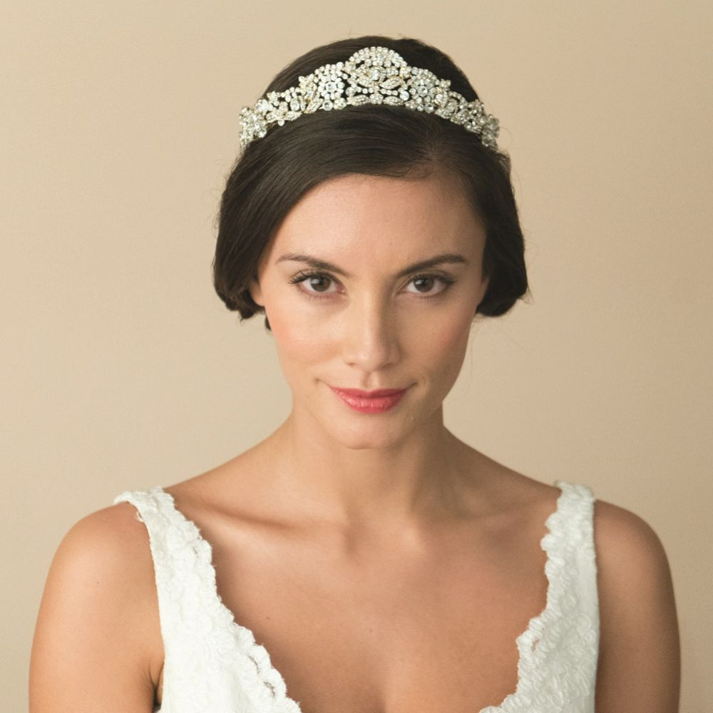 Ivory and Co Marcella Gold Art Deco Crystal Embellished Wedding Tiara