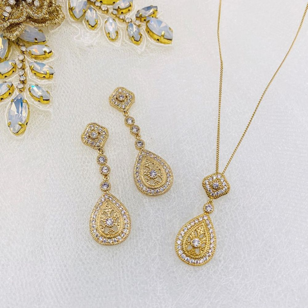 Ivory and Co Moonstruck Gold Crystal Bridal Jewellery Set