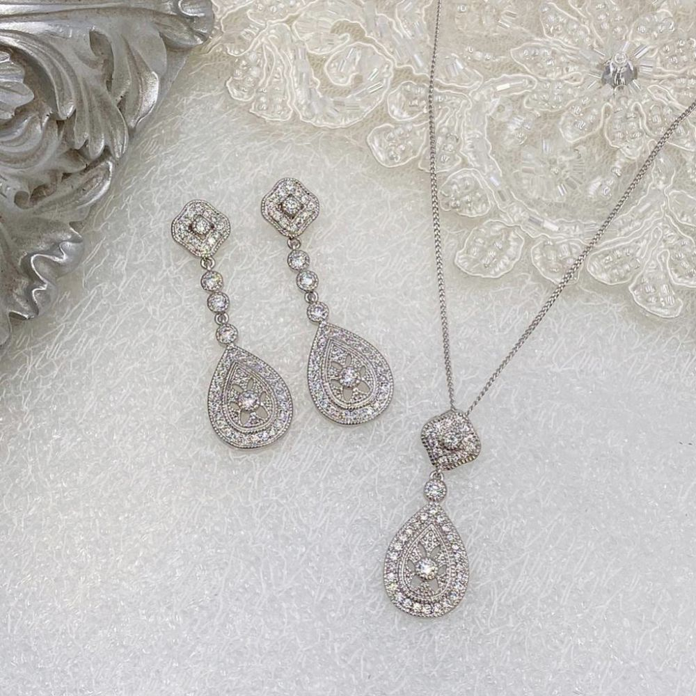 Ivory and Co Moonstruck Silver Crystal Bridal Jewellery Set