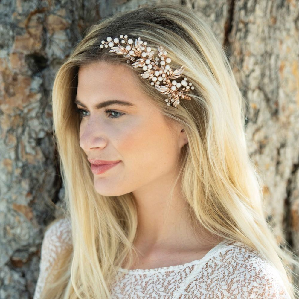 Ivory and Co Peasblossom Rose Gold Blush Pearl and Crystal Hair Clip