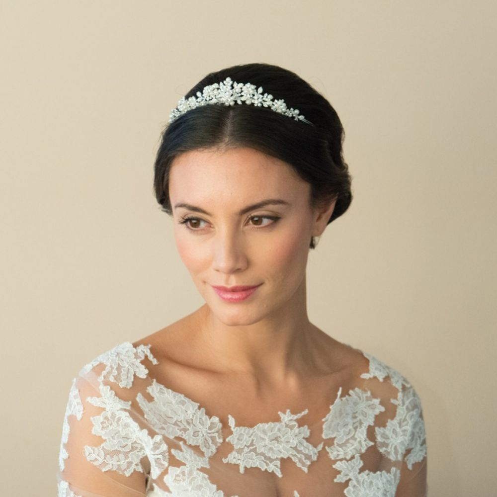Ivory and Co Sophie Floral Pearl and Crystal Wedding Tiara
