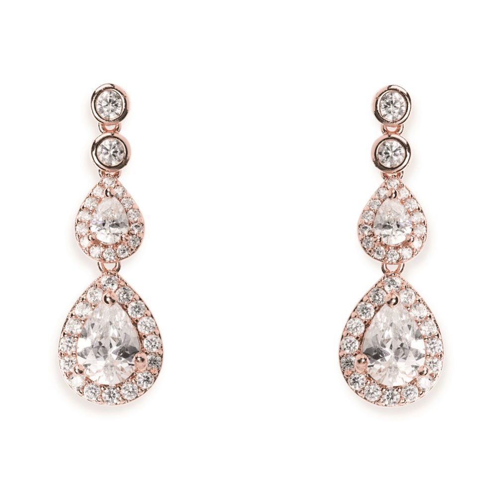 Ivory and Co Sorbonne Crystal Teardrop Wedding Earrings (Rose Gold)