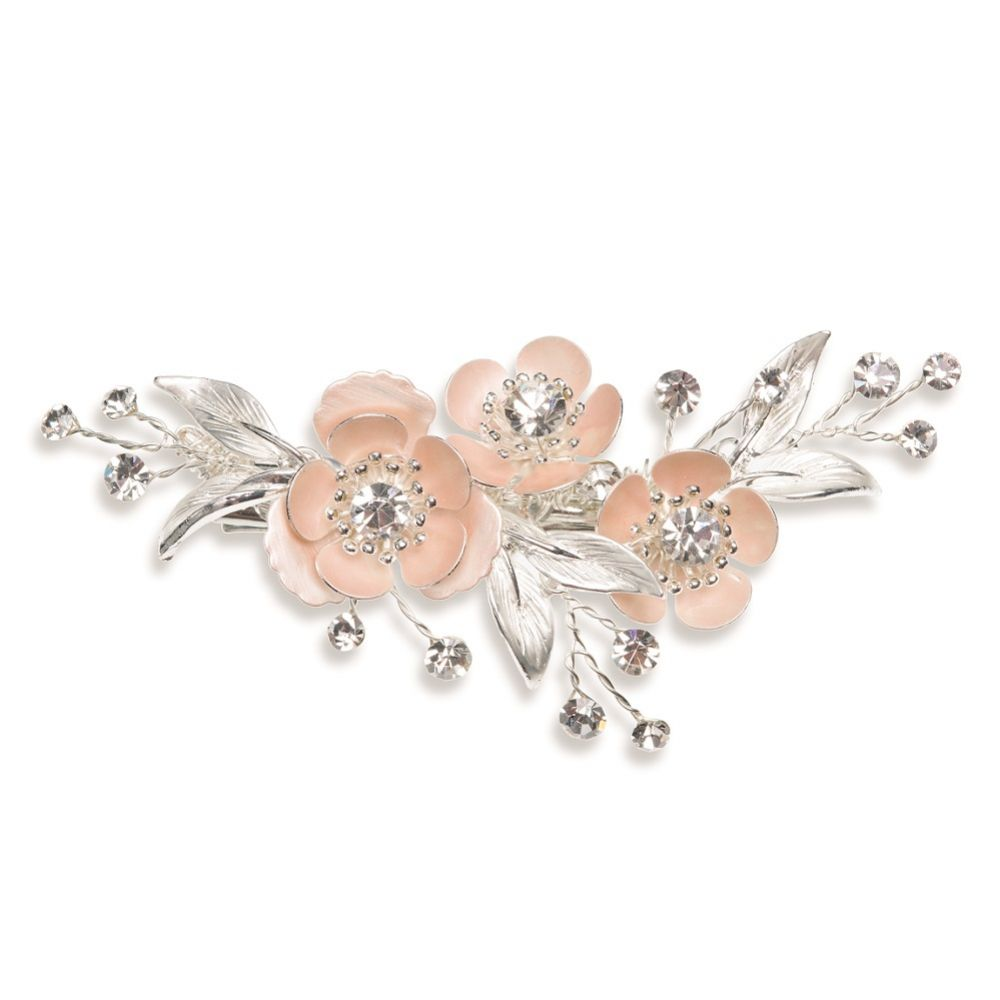 Ivory and Co Spirit Pale Pink Blossoms and Crystal Hair Clip