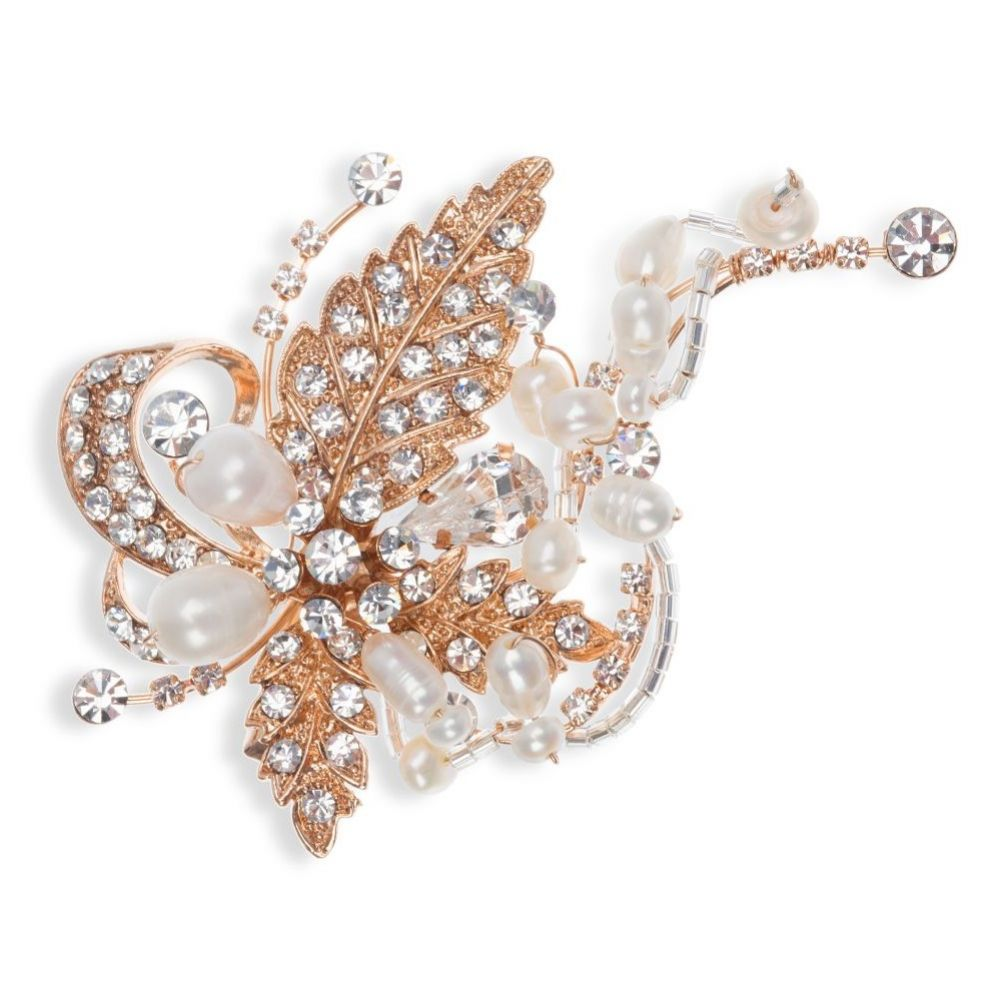 Ivory and Co Tallulah Rose Gold Floral Wedding Hair Clip