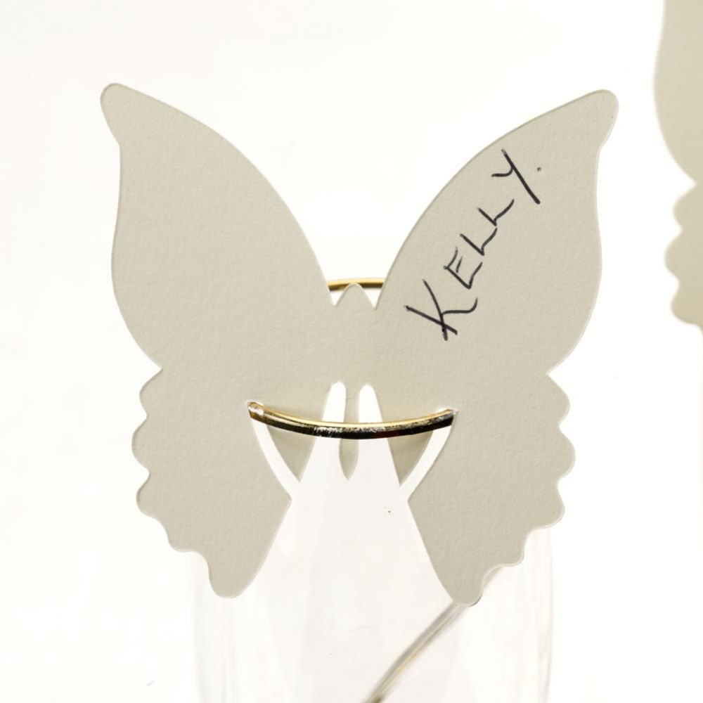 Ivory Butterfly Place Card on Glass - Pack of 10