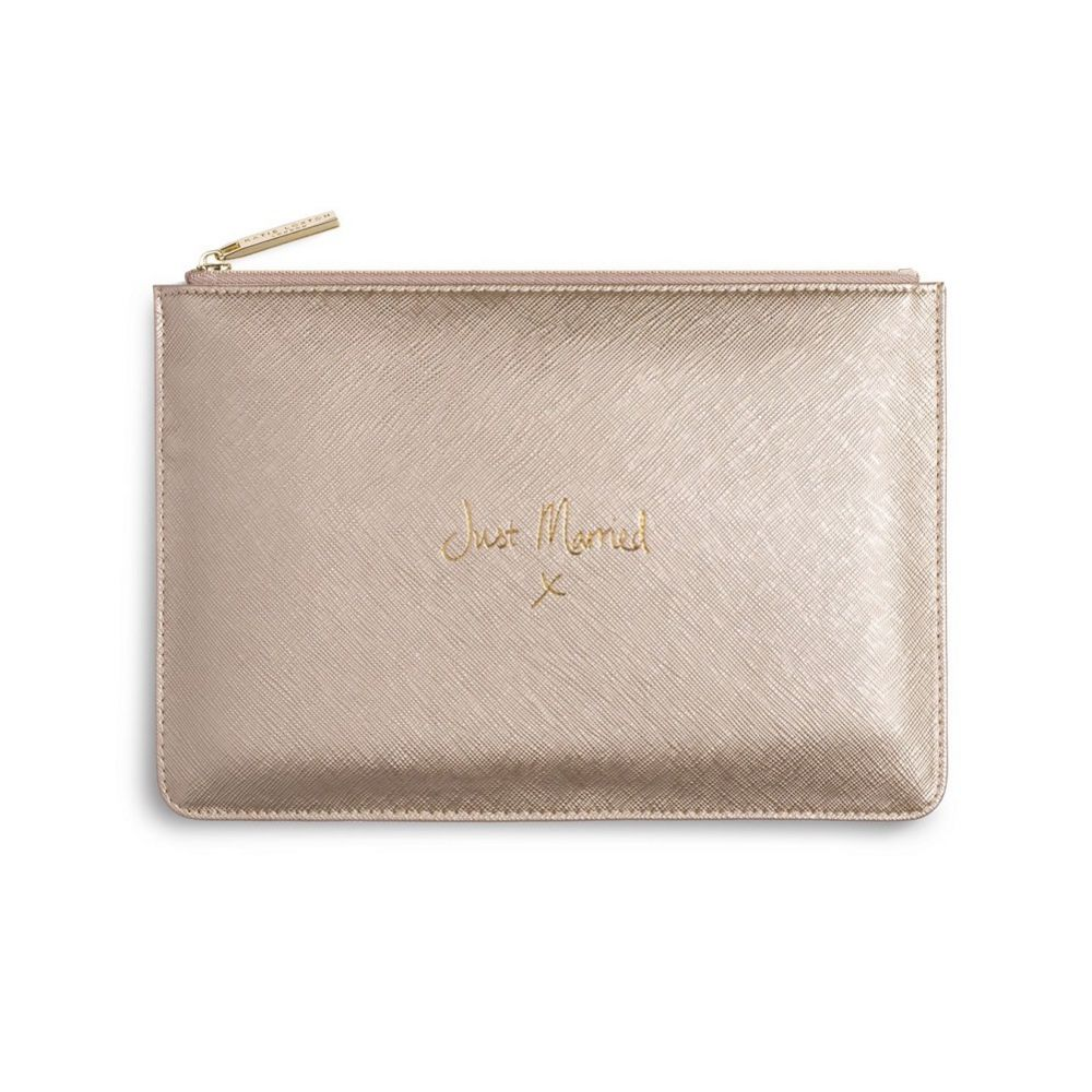Katie Loxton 'Just Married' Metallic Gold Perfect Pouch