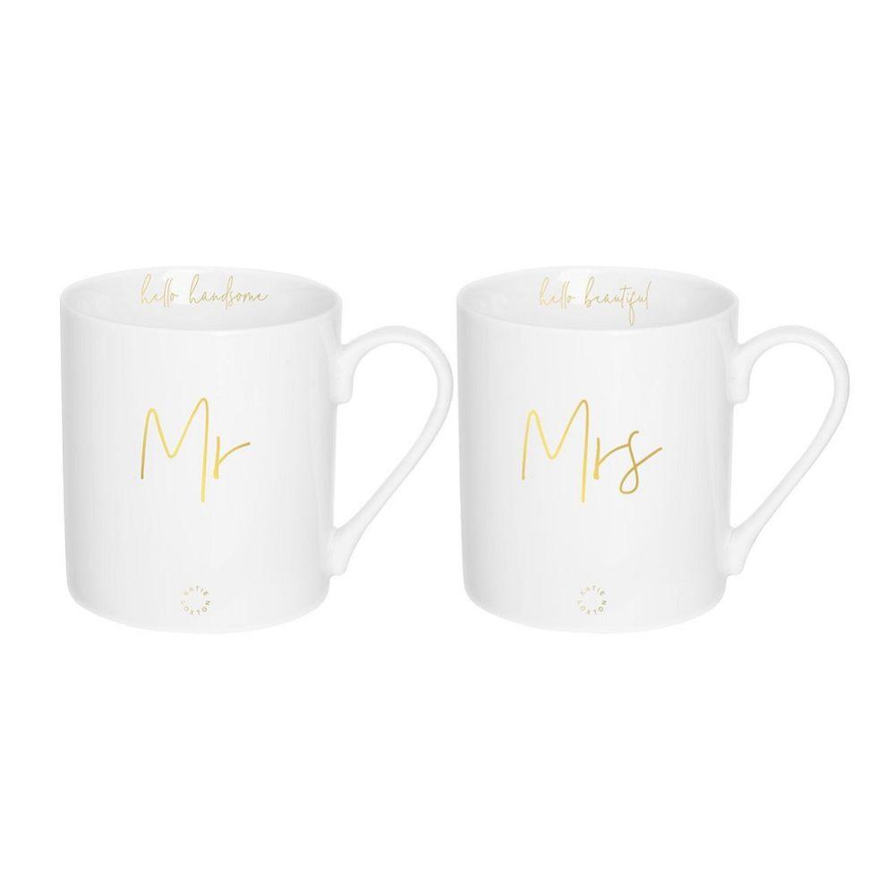 Katie Loxton Mr and Mrs Porcelain Mug Gift Set