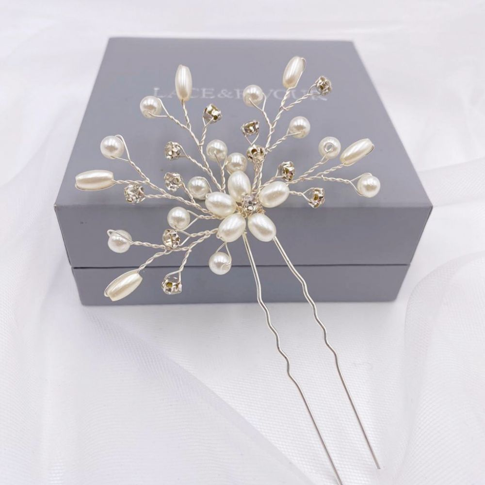 Leia Floral Pearl and Crystal Spray Hair Pin