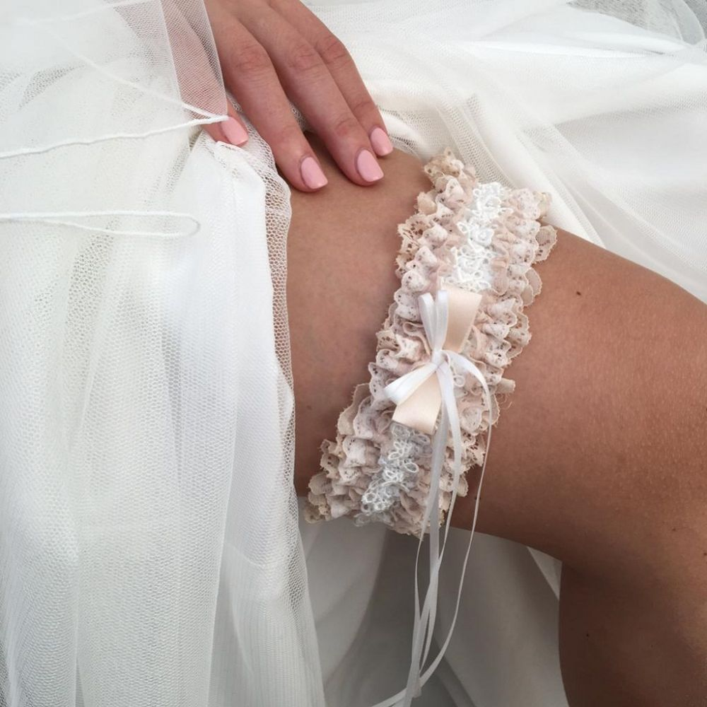 Liberty Blush and Ivory Lace Frill Bridal Garter with Double Bow