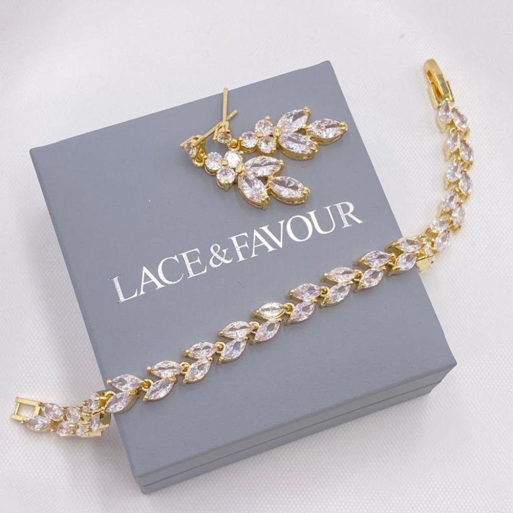 Lila Dainty Cubic Zirconia Drop Earrings (Gold)