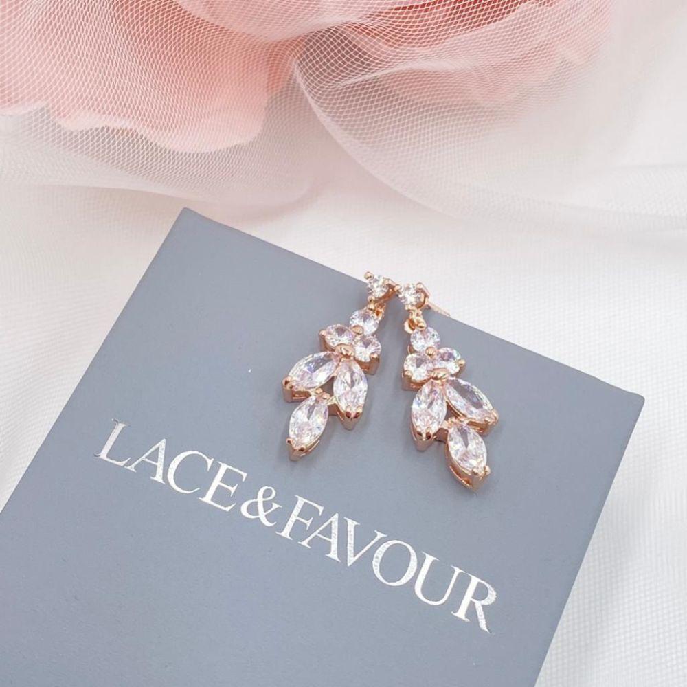 Lila Dainty Cubic Zirconia Drop Earrings (Rose Gold)
