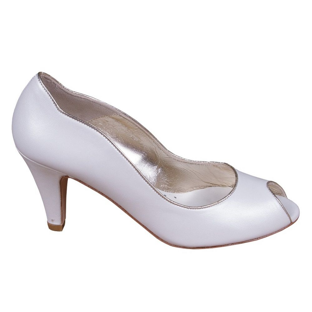 Lindsey May Maria Ivory Leather Peep Toe Shoes with Gold Trim