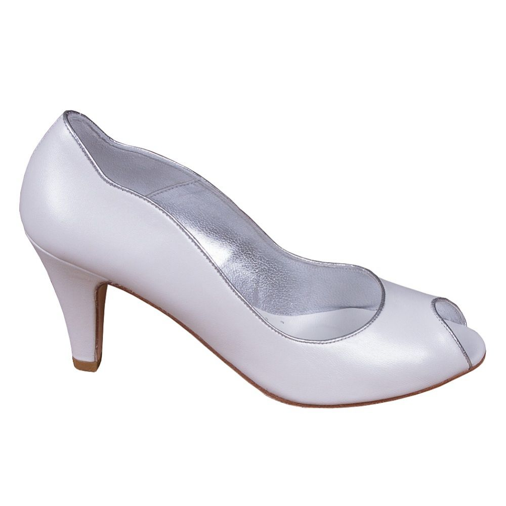 Lindsey May Maria Ivory Leather Peep Toe Shoes with Silver Trim