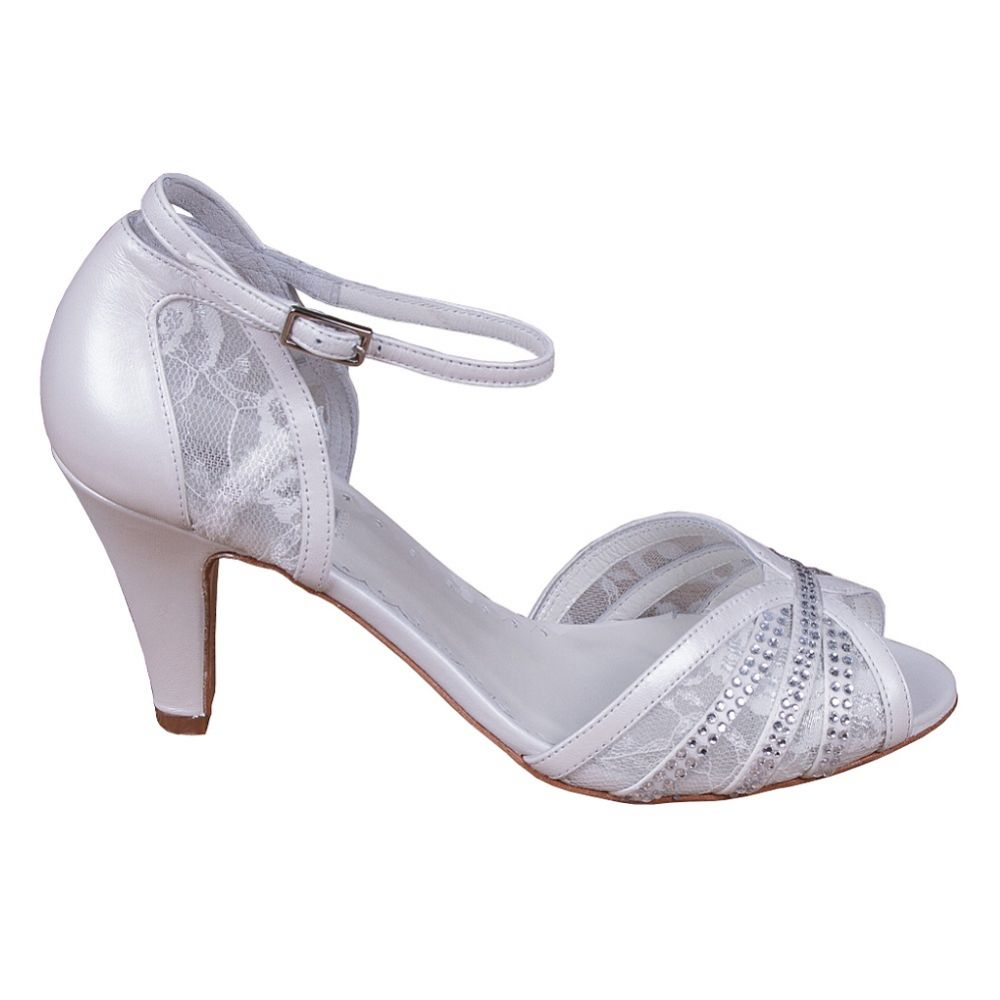 Lindsey May Natalia Ivory Leather and Lace Peep Toe Sandals with Diamante Detail