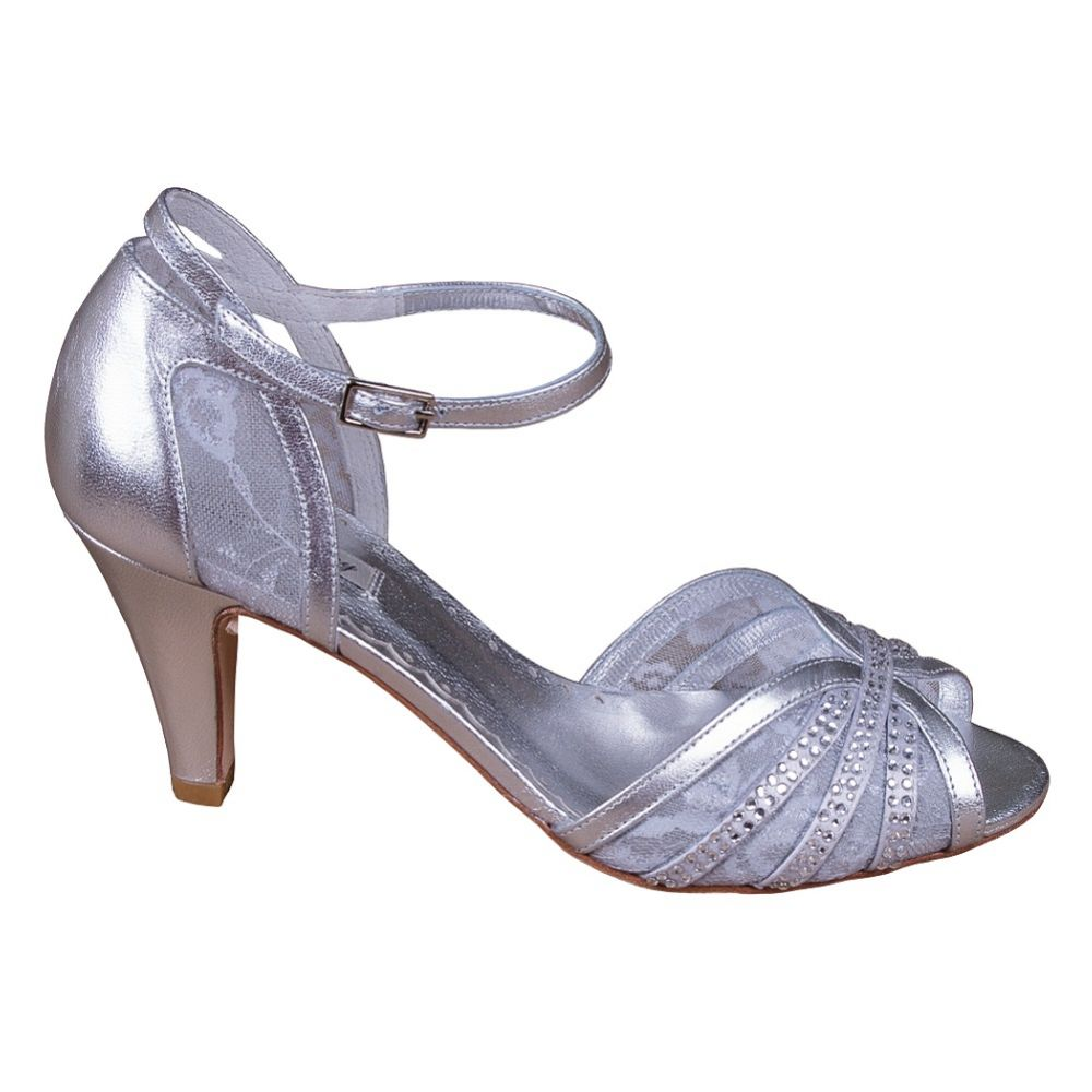 Lindsey May Natalia Silver Leather and Lace Peep Toe Sandals with Diamante Detail