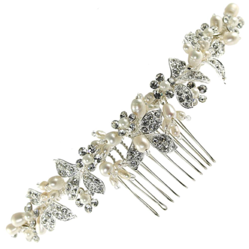 Linzi Jay Pearl and Diamante Leaves Bridal Hair Comb LP667