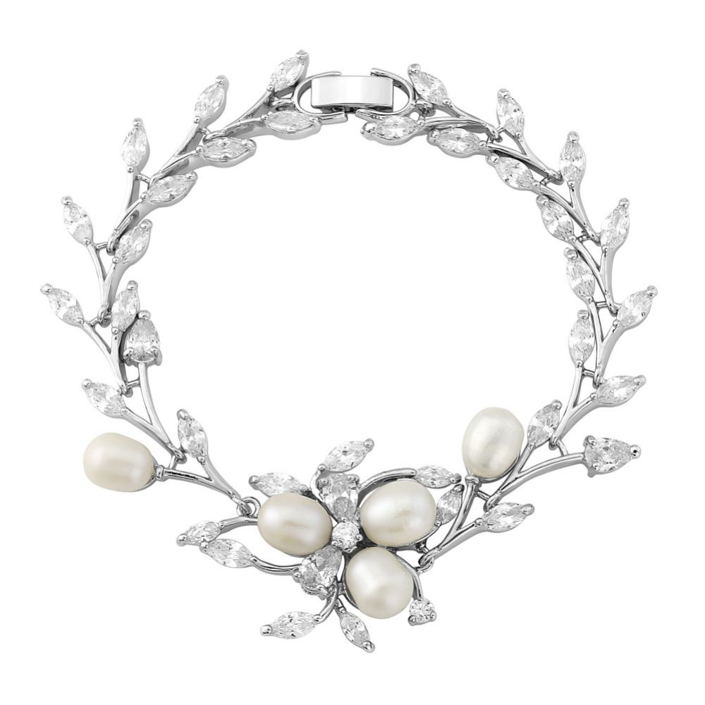 Lola Freshwater Pearl and Crystal Leaves Wedding Bracelet (Silver)