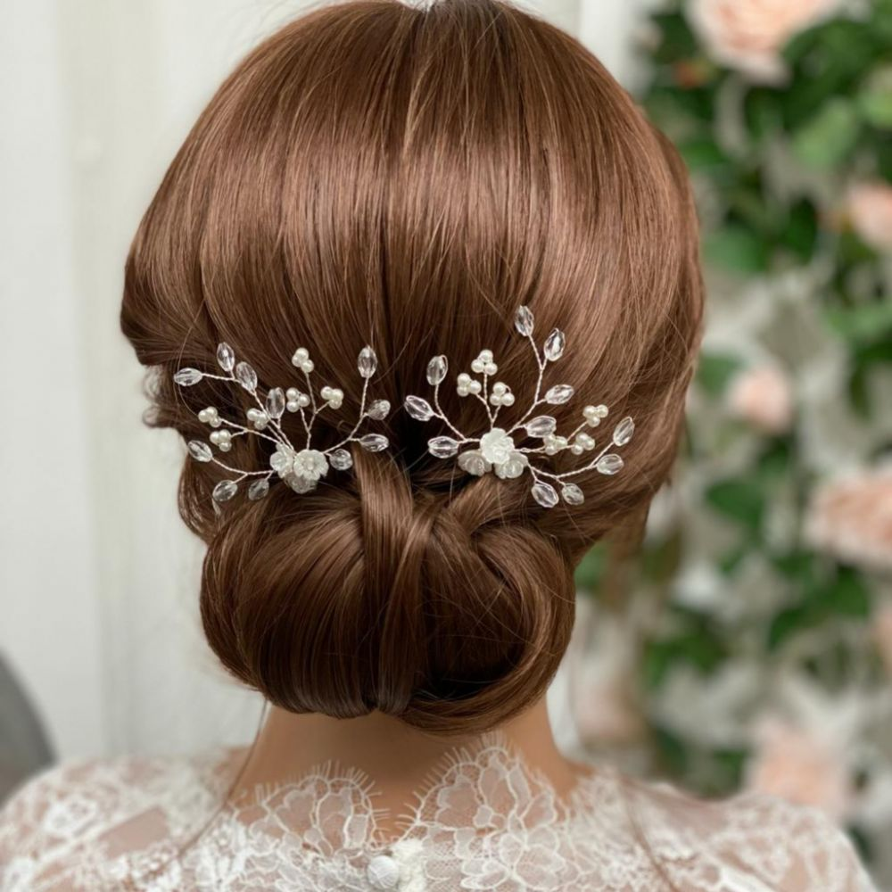 Lottie Floral Pearl and Crystal Hair Pin
