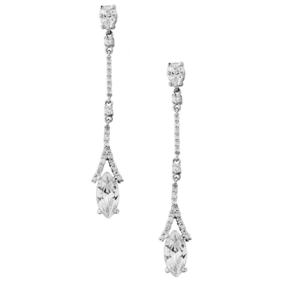 Miami Dainty Long Crystal Drop Wedding Earrings