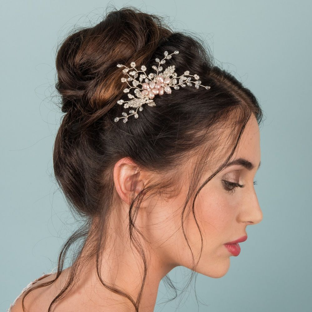 Oakley Crystal Leaves and Freshwater Pearl Blossoms Hair Comb